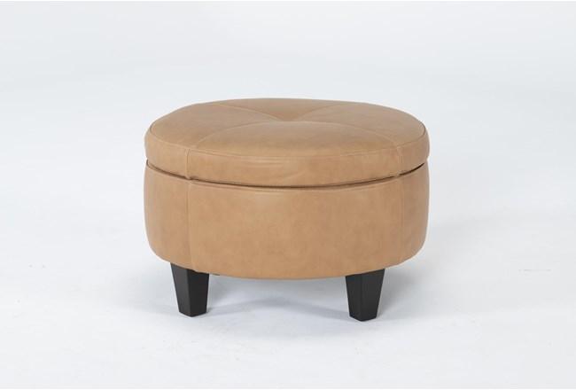 Perch II Leather Small Round Storage Ottoman - 360