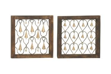 Wood Metal Bell Decor-Set Of 2