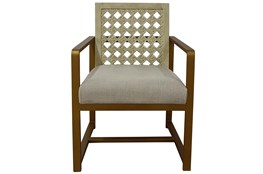 Washed White + Brass Arm Chair