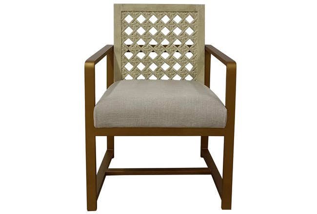 Washed White + Brass Arm Chair - 360