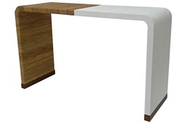"Ivory White + Abaca Rope 18"" Console Table"