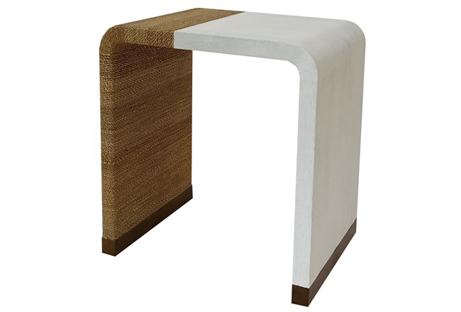 Ivory White + Abaca Rope Accent Table - 360