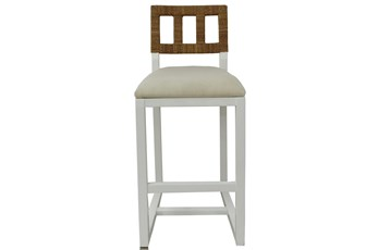 "Ivory Mahogany + Abaca Rope 42"" Bar Stool"