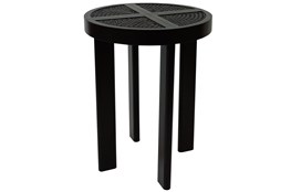 Black + Natural Cane Accent Table