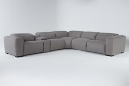 """Morro Bay 6 Piece Power Reclining 143"""" Console Sectional With Power Headrest & Usb"""