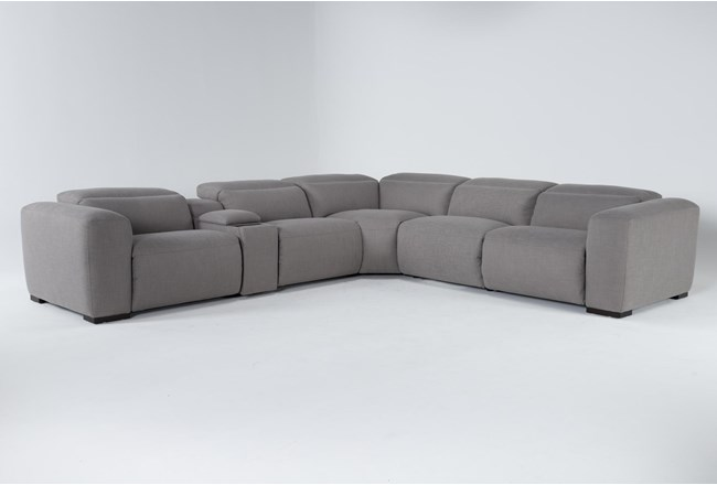 """Morro Bay 6 Piece Power Reclining 143"""" Console Sectional With Power Headrest & Usb - 360"""