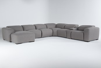 """Morro Bay 7 Piece 177"""" Power Reclining Sectional With Left Arm Facing Chaise,Power Headrest & Usb"""