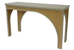 """Macaroon Cream + Natural Cane 54"""" Console Table"""