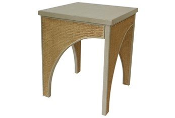 Macaroon Cream + Natural Cane Accent Table