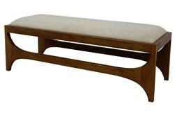 Light Wood + Beige Fabric Bench