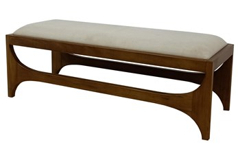 Light Wood + Beige Fabric Bench