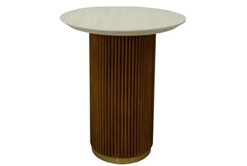 White Washed + Rustic Gold Accent Table