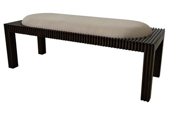 Dark Wood + Beige Fabric Bench