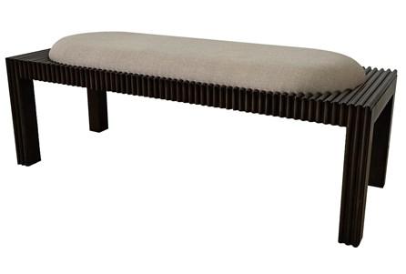 Dark Wood + Beige Fabric Bench - Main