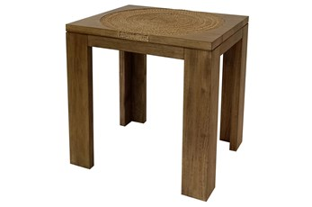 Wood + Abaca Rope Accent Table