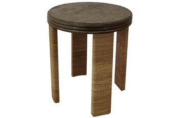 Wood + Abaca Rope Round Accent Table