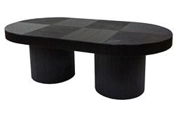 Black Wood + Rattan Coffee Table