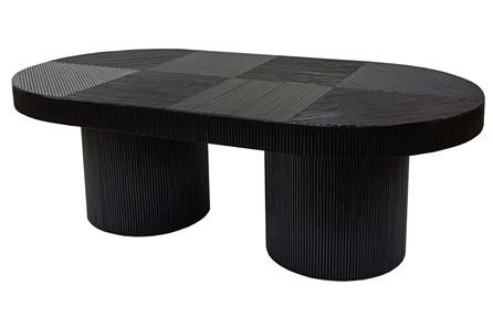 Black Wood + Rattan Coffee Table - Main