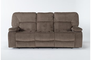 "Chadrick Brown 88"" Reclining Sofa With Dropdown Console"