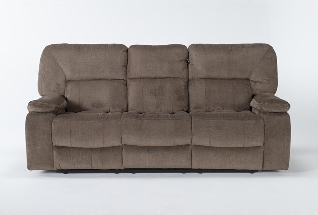 """Chadrick Brown 88"""" Reclining Sofa With Dropdown Console - 360"""
