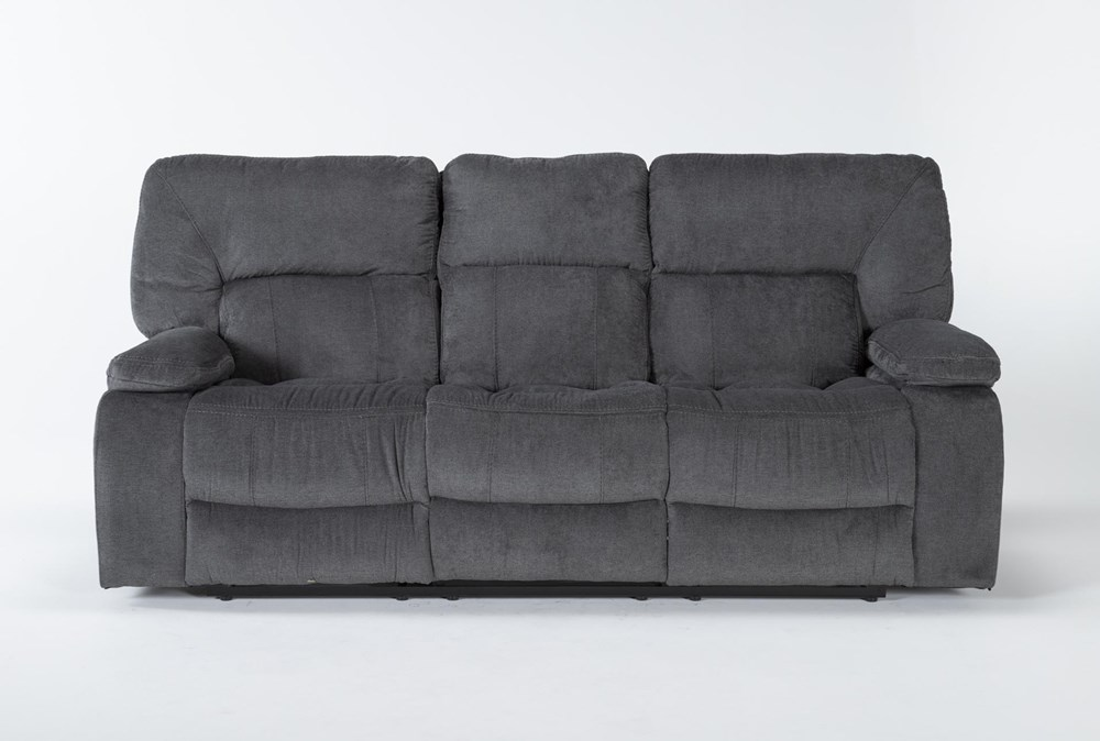 "Chadrick Grey 88"" Reclining Sofa With Dropdown Console"