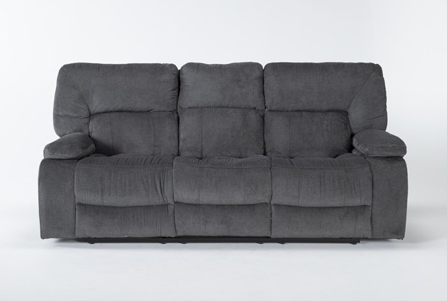"""Chadrick Grey 88"""" Reclining Sofa With Dropdown Console - 360"""