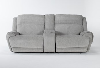 """Terence Pebble 3 Piece 101"""" Power Reclining Console Loveseat With Power Headrest & Usb"""