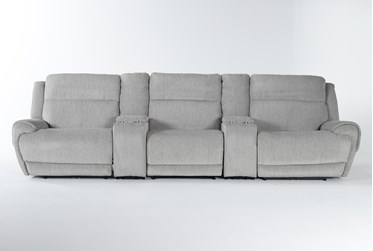 """Terence Pebble 5 Piece Power Reclining Home Theater 146"""" Sectional With Power Headrest & Usb"""