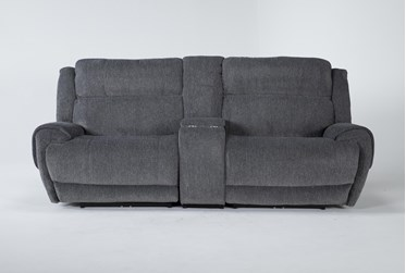 """Terence Graphite 3 Piece 101"""" Power Reclining Console Loveseat With Power Headrest & Usb"""