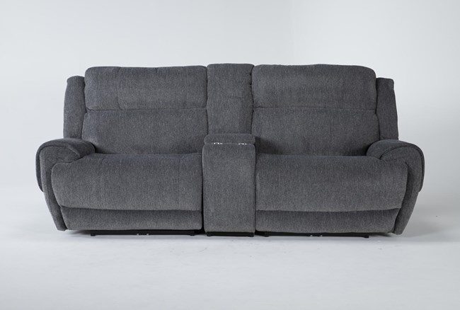 """Terence Graphite 3 Piece 101"""" Power Reclining Console Loveseat With Power Headrest & Usb - 360"""