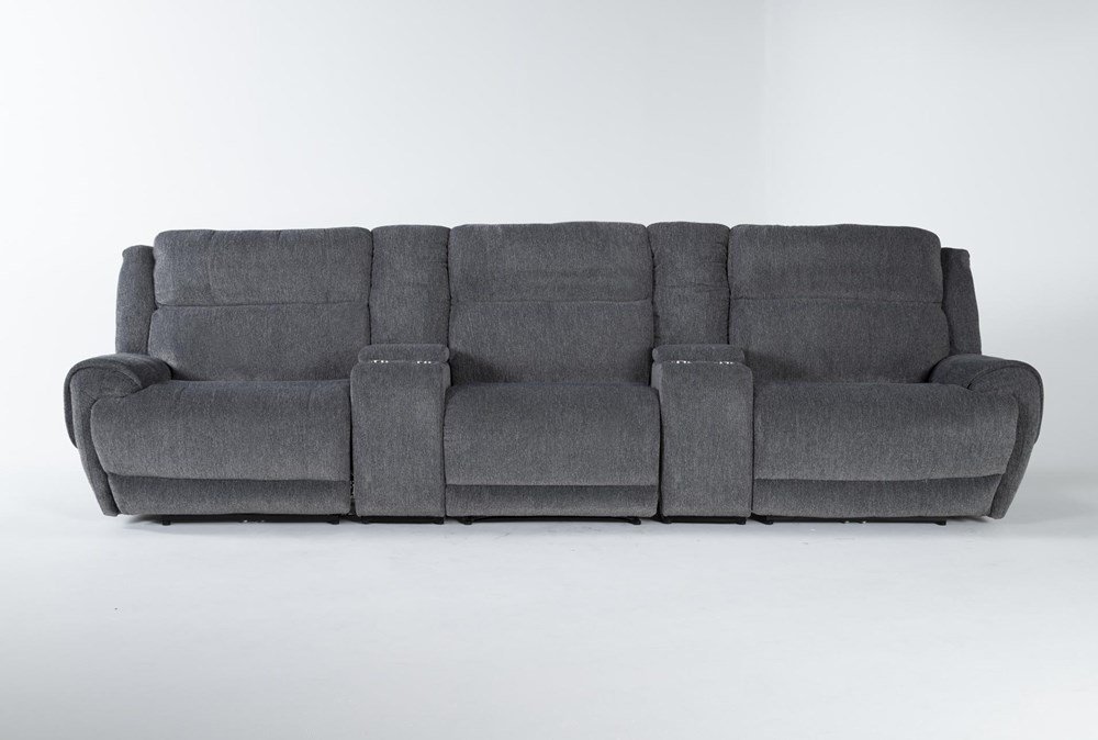 """Terence Graphite 5 Piece Power Reclining Home Theater 146"""" Sectional With Power Headrest & Usb"""