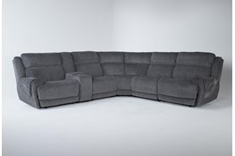 "Terence Graphite 6 Piece 154"" Power Reclining Sectional With Power Headrest & Usb"