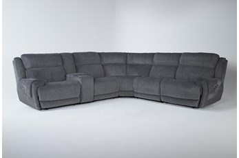 "Terence Graphite 6 Piece 138"" Power Reclining Sectional With Power Headrest & Usb"