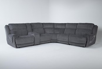 """Terence Graphite 6 Piece 138"""" Power Reclining Sectional With Power Headrest & Usb"""