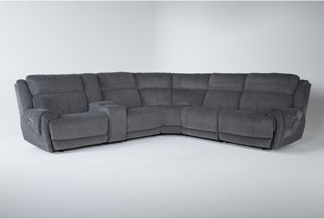 """Terence Graphite 6 Piece 138"""" Power Reclining Sectional With Power Headrest & Usb - 360"""
