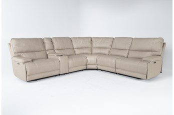 "Watkins Linen 6 Piece Cordless 150"" Power Reclining Sectional With Power Headrest & USB"