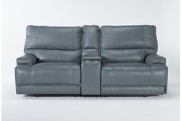 "Watkins Blue 3 Piece Cordless 89"" Power Reclining Console Loveseat With Power Headrest & USB"