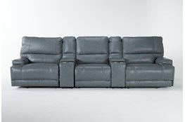 "Watkins Blue 5 Piece Cordless Power Reclining Home Theater 130"" Sectional With Power Headrest & USB"