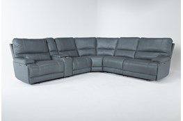 "Watkins Blue 6 Piece Cordless 150"" Power Reclining Sectional With Power Headrest & USB"