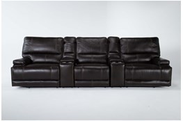 """Watkins Coffee 5 Piece Cordless Power Reclining Home Theater 130"""" Sectional With Power Headrest & USB"""