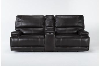 "Watkins Coffee 3 Piece Cordless 89"" Power Reclining Console Loveseat With Power Headrest & USB"
