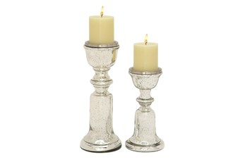 Mercury Glass Candleholders Set Of 2