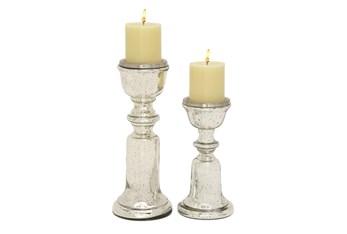 Mercury Glass Candleholders Set Of 2