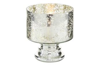 6 Inch Mercury Glass Cylinder Pedestal Vase