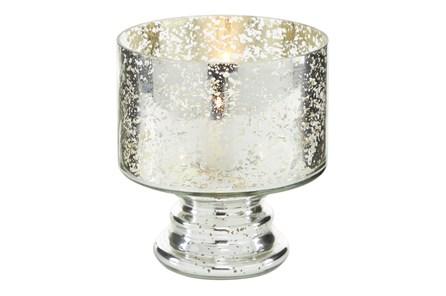 6 Inch Mercury Glass Cylinder Pedestal Vase - Main