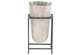 Rustic Vase On Metal Stand