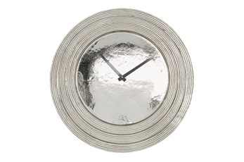 Round Layered Rim Wall Clock - Silver