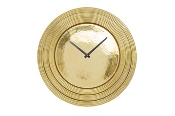Round Layered Rim Wall Clock - Gold