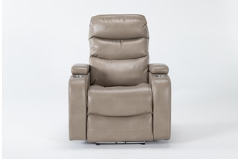 Waylan Linen Home Theater Power Recliner With Power Headrest