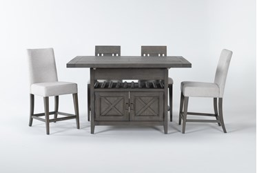 Concord 5 Piece Extension Counter Set With Wood And Upholstered Back Stools